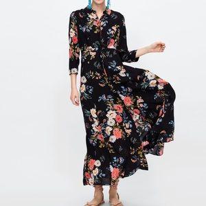ZARA | Floral Button Down Maxi Shirt Dress XS